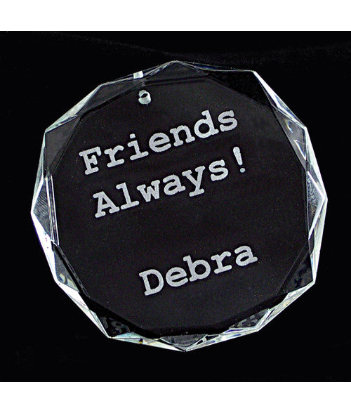 Personalized Round Facet Genuine Crystal Ornament - uncommon-etching
