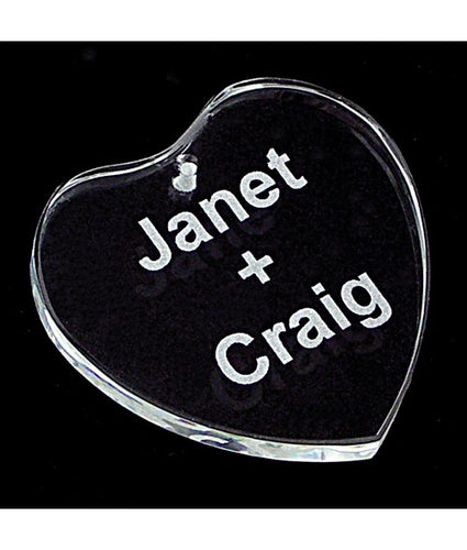 Personalized Heart Genuine Crystal Ornament - uncommon-etching