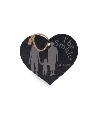 Personalized Heart Slate Ornament 5