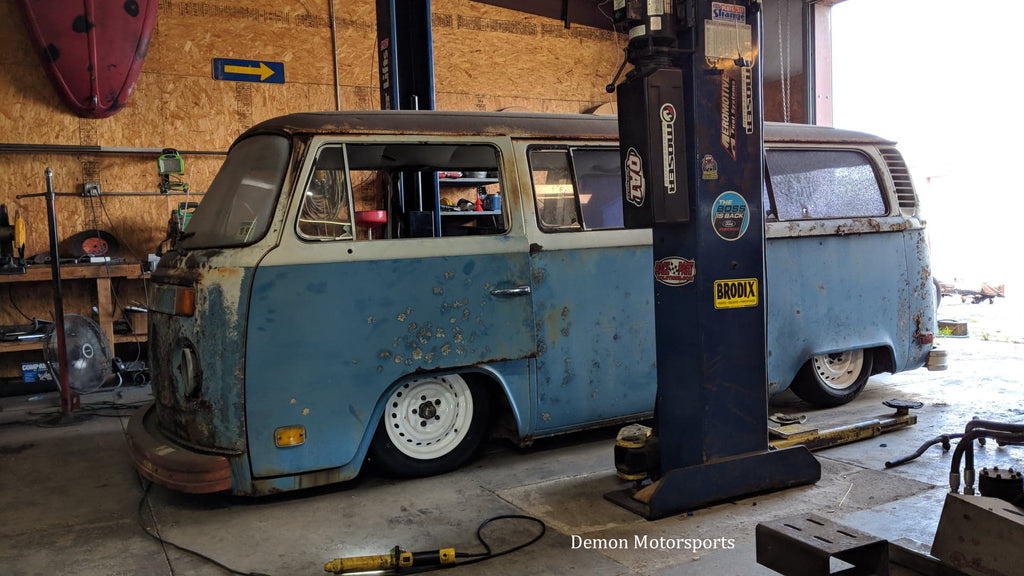 1975 VW Bay Window Bus Hydraulic suspension build by Demon Motorsports
