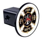 Fire Dept Black/White Maltese Hitch Cover