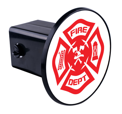 Red White Fire Dept. Maltese Hitch Cover