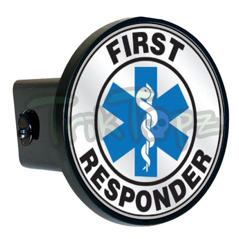 White First Responder Hitch Cover