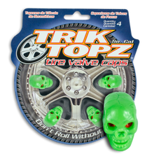 Load image into Gallery viewer, Skull Head Valve Cap Green (4 Pack)
