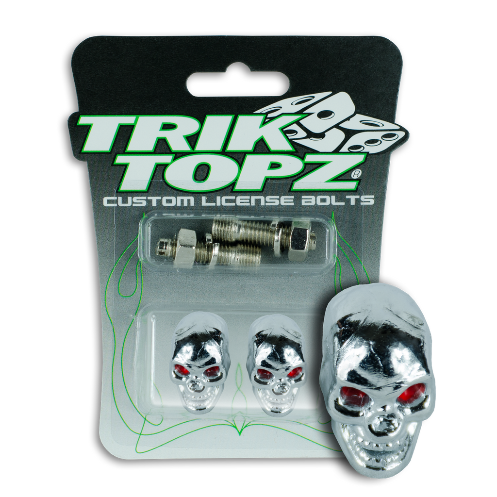 Skull Head License Bolt Chrome
