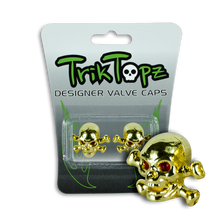 Load image into Gallery viewer, Skull & Bones Valve Cap Gold (2 Pack)