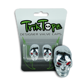 Skull Head Valve Cap Chrome (2 Pack)