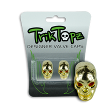 Load image into Gallery viewer, Skull Head Valve Cap Gold (2 Pack)