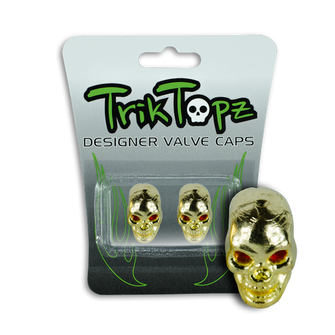 Skull Head Valve Cap Gold (2 Pack)