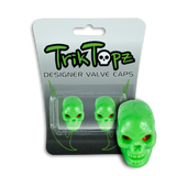 Skull Head Valve Cap Green (2 Pack)