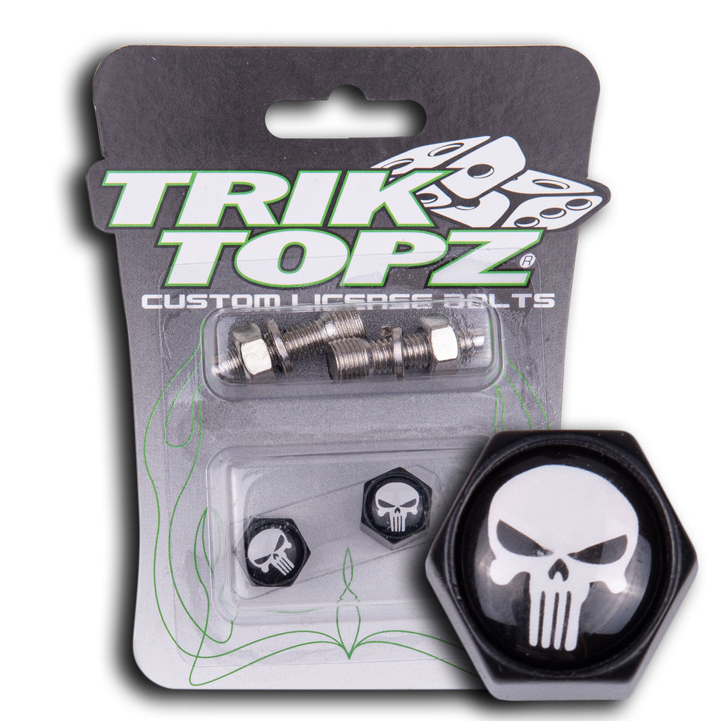 Block Shape Skull Head License Bolt-Black/White(2 pack)-Item #8496