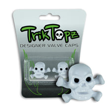 Load image into Gallery viewer, Skull & Bones Valve Cap White (2 Pack)