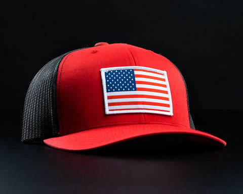 Image of American Flag Hat-Red/Black