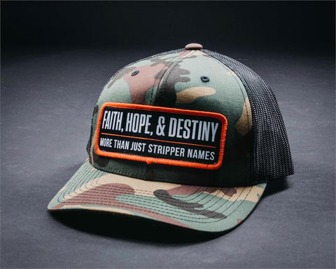 Image of Stripper Name Hat-Woodland Camo/Black