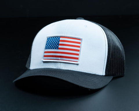 American Flag Hat-White/Black