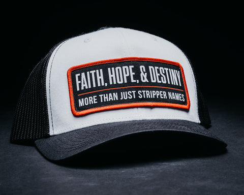 STRIPPER NAME HAT-WHITE/BLACK