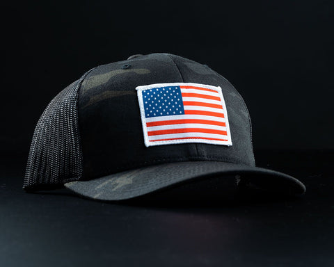 American Flag Hat-Black Multicam