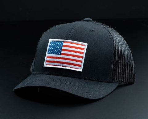 American Flag Hat-Solid Black