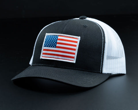 Image of American Flag Hat-Black/White