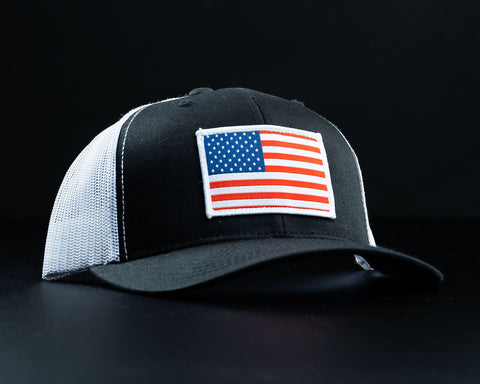 American Flag Hat-Black/White