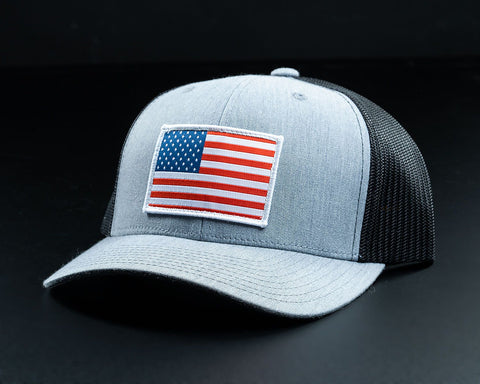 American Flag Hat-Gray/Black