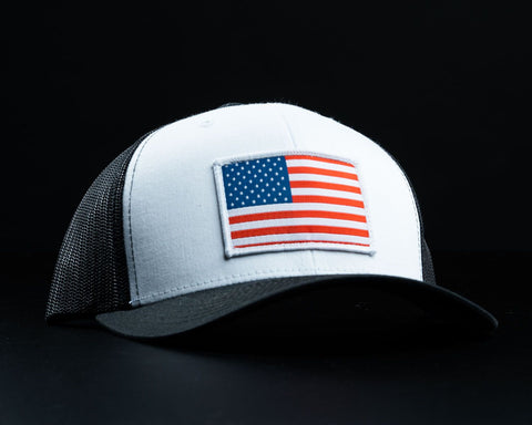 Image of American Flag Hat-White/Black