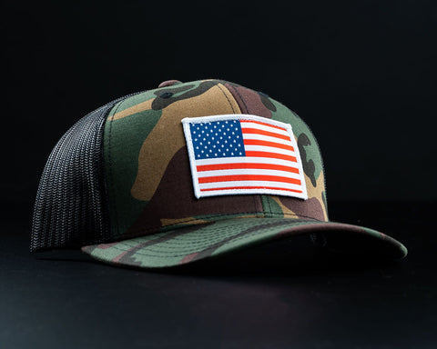 Image of American Flag Hat-Woodland Camo