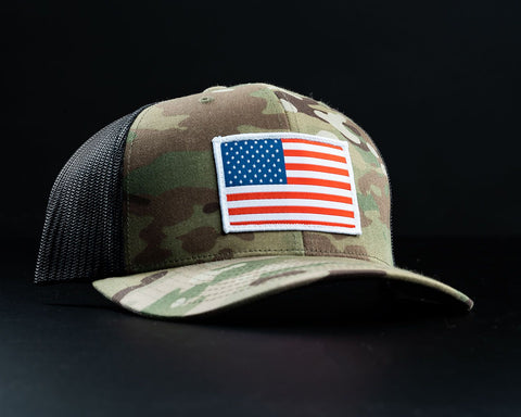 American Flag Hat-Multicam