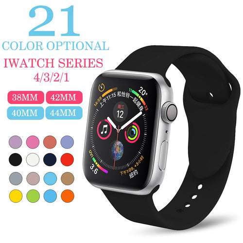 Soft Silicone Replacement Sport Band For Apple Watch Series 1/2/3 42mm 38mm Wrist Bracelet Strap for iWatch Sportsbands
