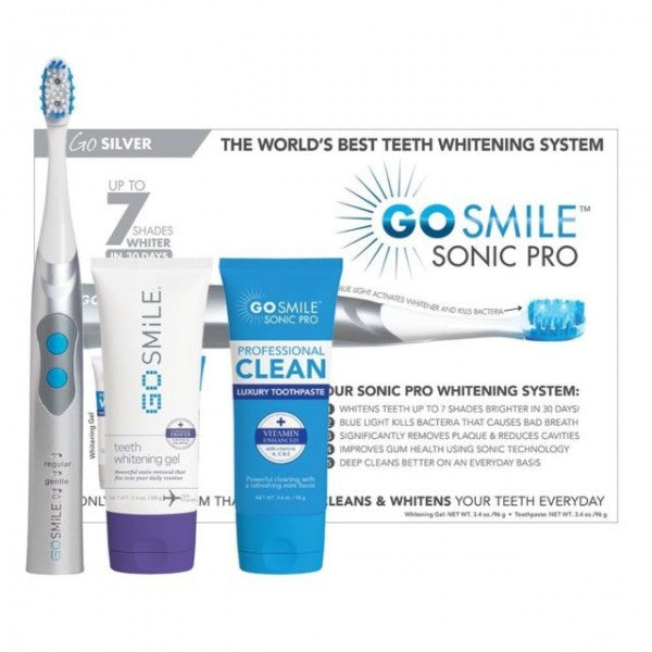 Go Smile Sonic Pro 2-in-1 Cleaning & Whitening Toothbrush System (Silver)