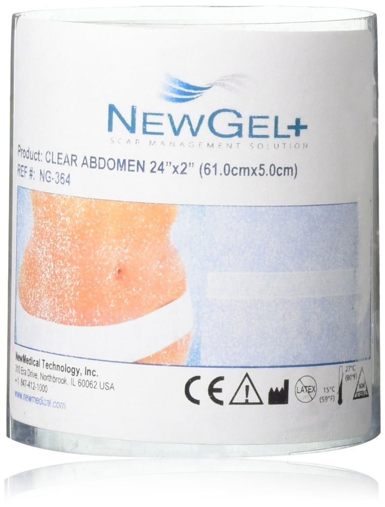 NewGel+E 18 X 2 Abdomen/Extremity Silicone Scar Strip - CLEAR (1 Strip per box)