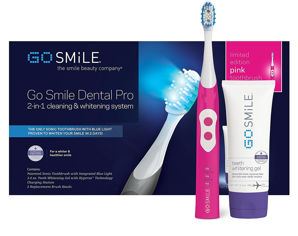 Go Smile Dental Pro 2-in-1 Cleaning & Whitening Toothbrush System (Pink)