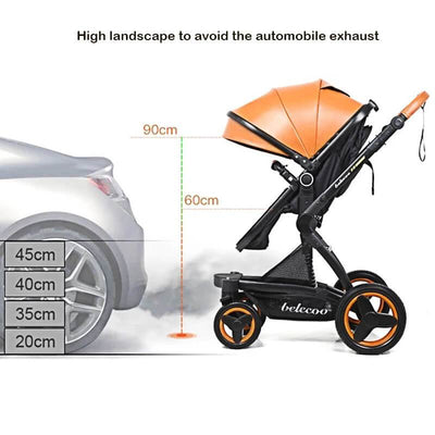 Luxury PU Baby Stroller 3 in 1 Travel System-9
