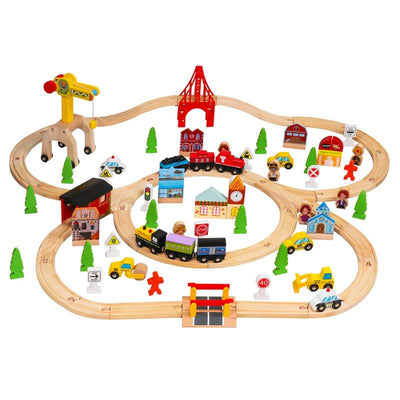 100 Pcs Wooden Train Tracks Sets Multicolor Wooden Toy Train