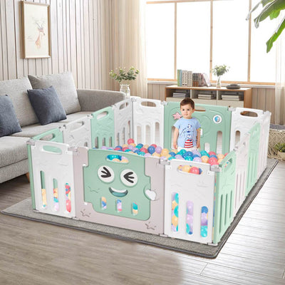 12+2 Panel Baby Play Area Fence Activity Center Indoor Playground