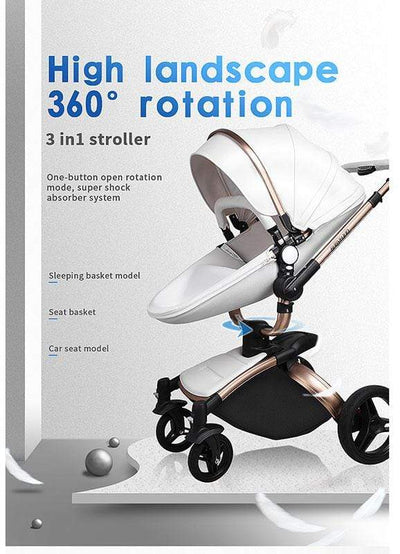 Leather 360 Degree Rotation Toddler Stroller 3 In 1 Stroller With Car Seat
