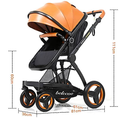 Luxury PU Baby Stroller 3 in 1 Travel System-23