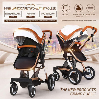 Luxury PU Baby Prams 3 in 1 Stroller Travel System