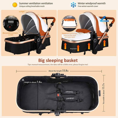Baby Stroller 3 in 1 Luxury PU Bassinet Stroller
