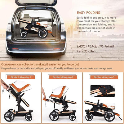 Luxury PU Baby Stroller Toddler Stroller