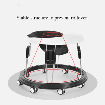 Anti-rollover Baby Walker with Wheels Adjustable Baby Walker for Boys and Girls