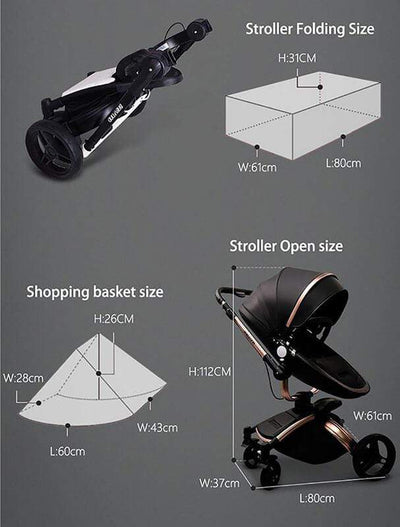Leather 3 In 1 Toddler Prams With Car Seat-27