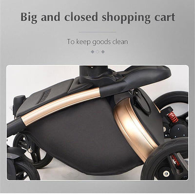 Leather 3 In 1 Toddler Prams With Car Seat-23