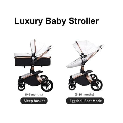Infant Pram Stroller Luxury Leather 2 in 1 Stroller