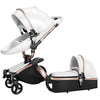 Leather 360 Degree Rotation Toddler Stroller Bassinet Stroller Convertible Stroller