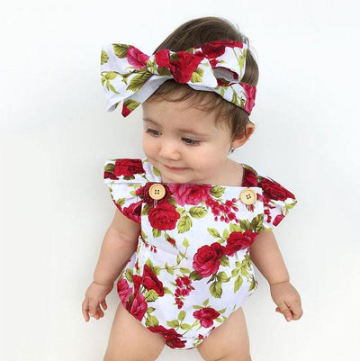 Newbabywish Baby Girls Flower Bodysuit + Headband