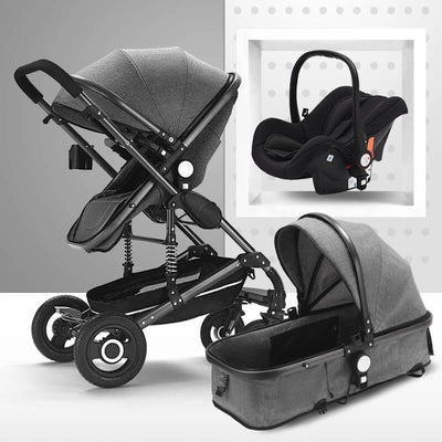 Infant 3 in 1 Prams Toddler Stroller-gray