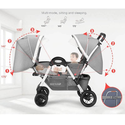 Twin babys double jogging stroller