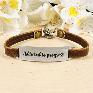 """Addicted to Progress"" Engraved Leather Bracelet BeStrong"