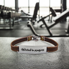 "Load image into Gallery viewer, ""Addicted to Progress"" Engraved Leather Bracelet Bracelet BeStrong"